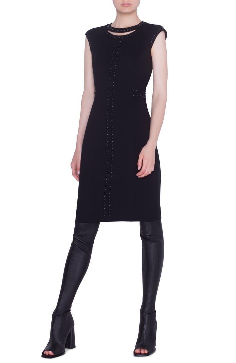 AKRIS PUNTO Rivet Detail Luna Cutout Sheath Dress, Main, color, BLACK