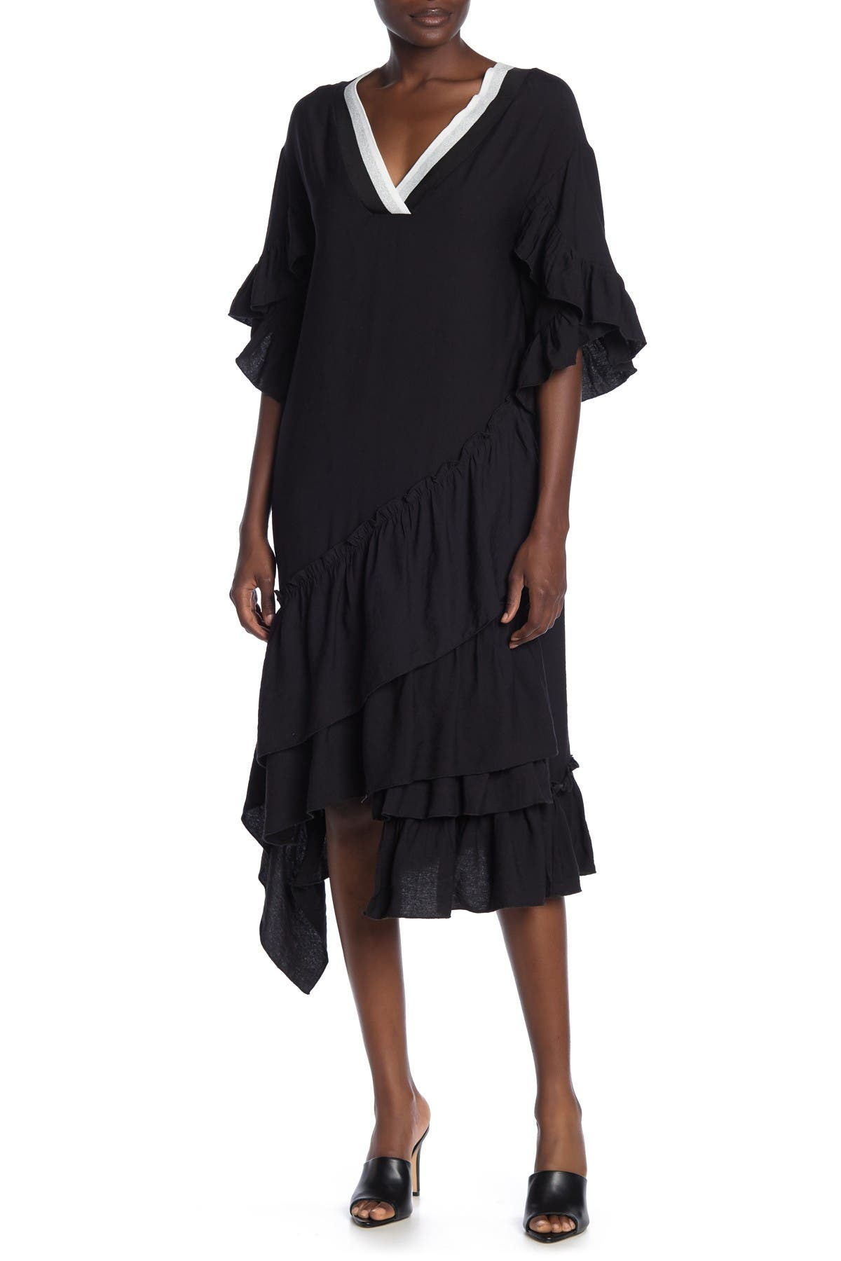 Image of TOV Metallic Knit Sheath Dress