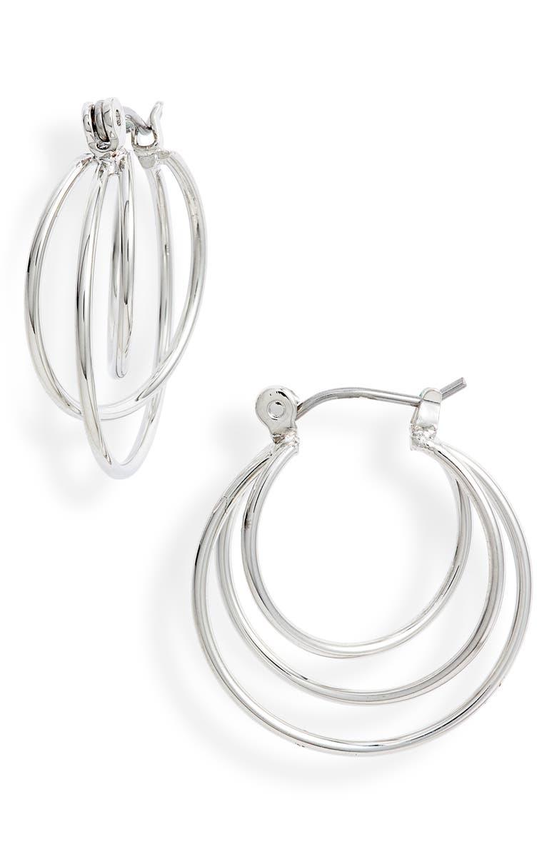 HALOGEN<SUP>®</SUP> Multi Wire Hoop Earrings, Main, color, RHODIUM