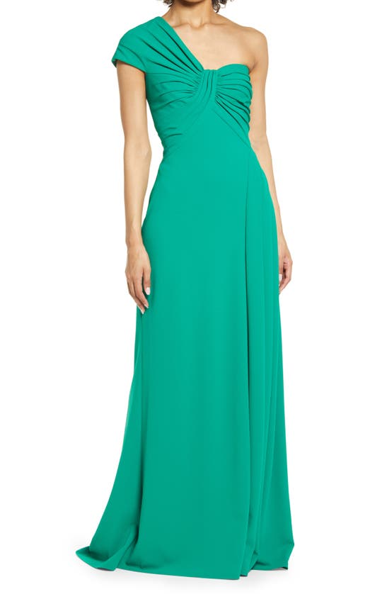 Tadashi Shoji One Shoulder Twist Bodice Crepe Gown In Herbal Green