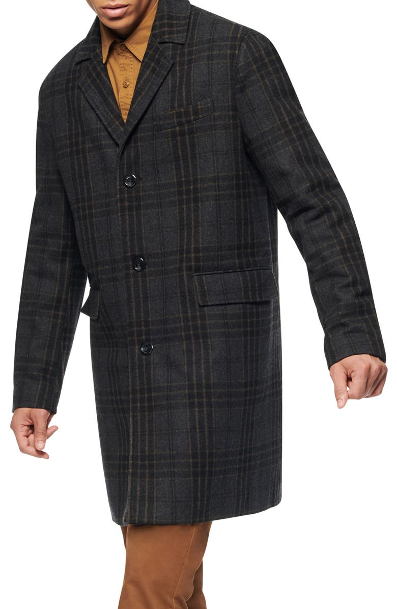 MARC NEW YORK Willemstad Plaid Peacoat, Main, color, BLACK/BROWN