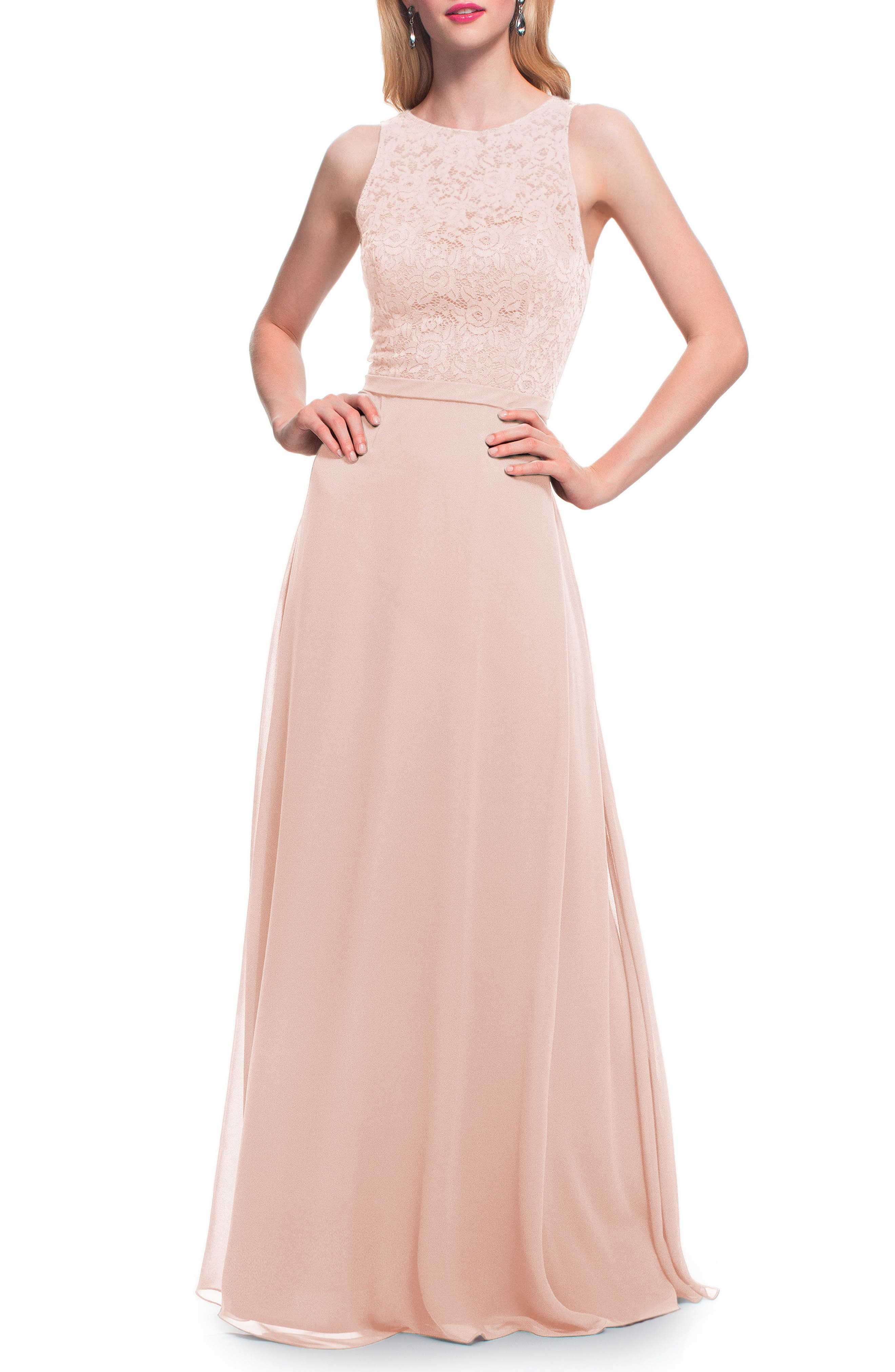 #levkoff Lace Bodice Chiffon Gown, Pink