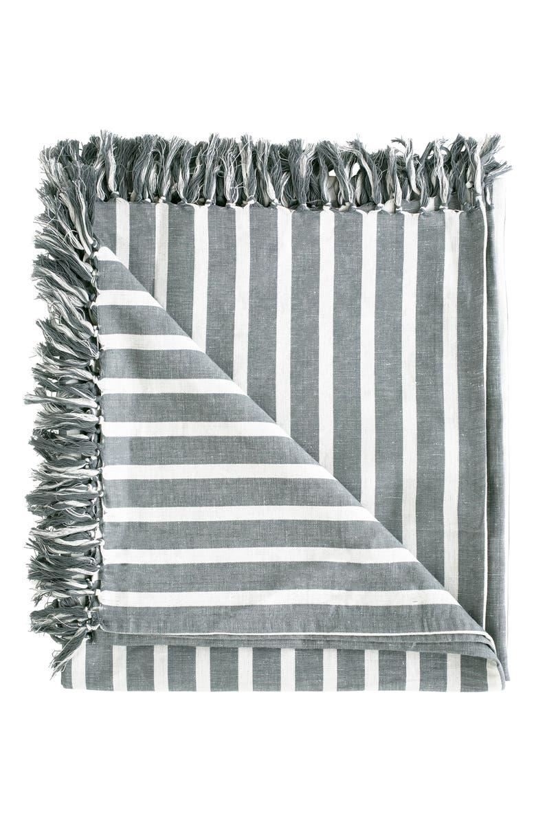 EADIE LIFESTYLE Coitier Linen & Cotton Throw Blanket, Main, color, 020