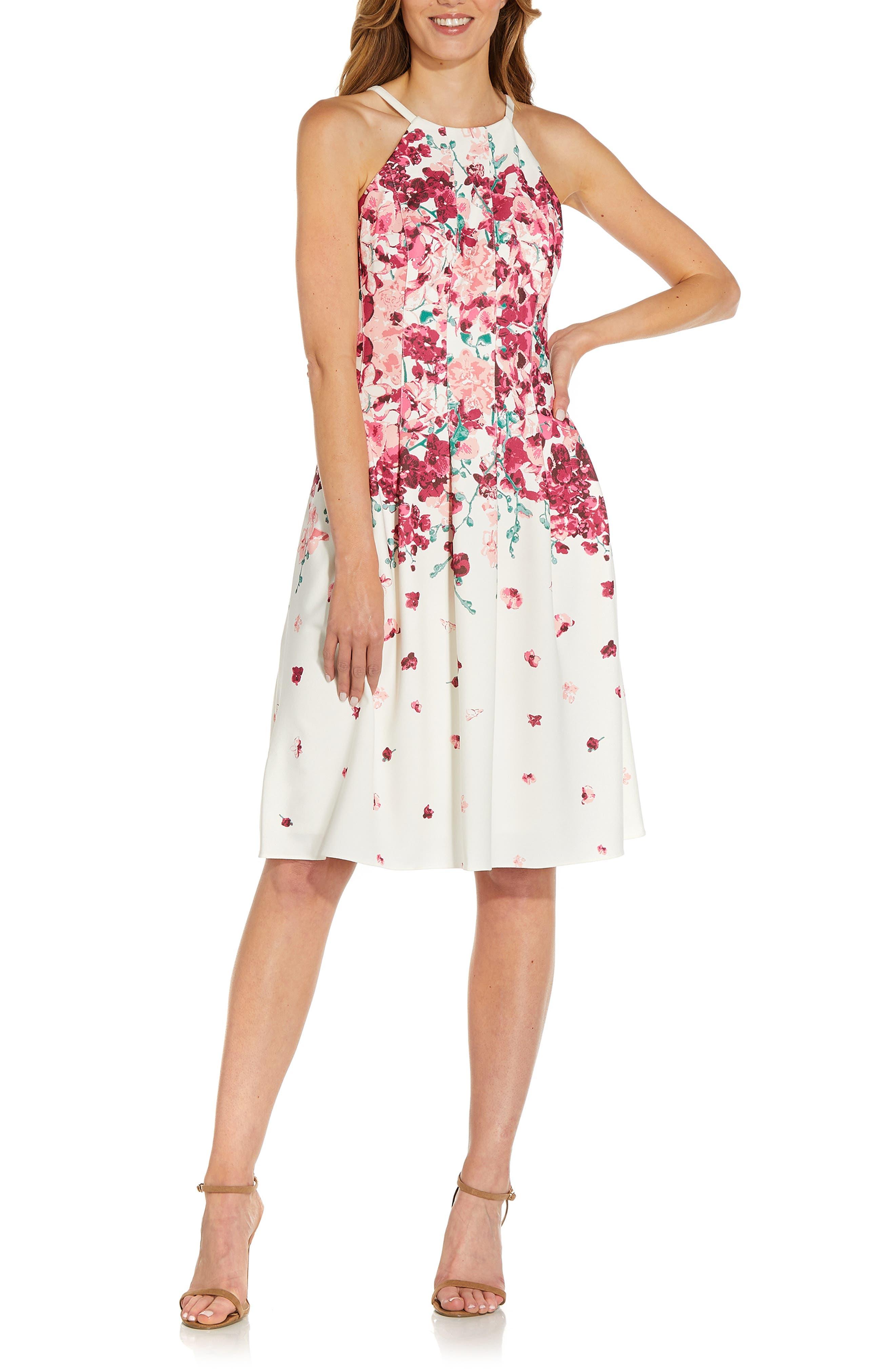 Floral Halter Neck Fit & Flare Crepe Dress