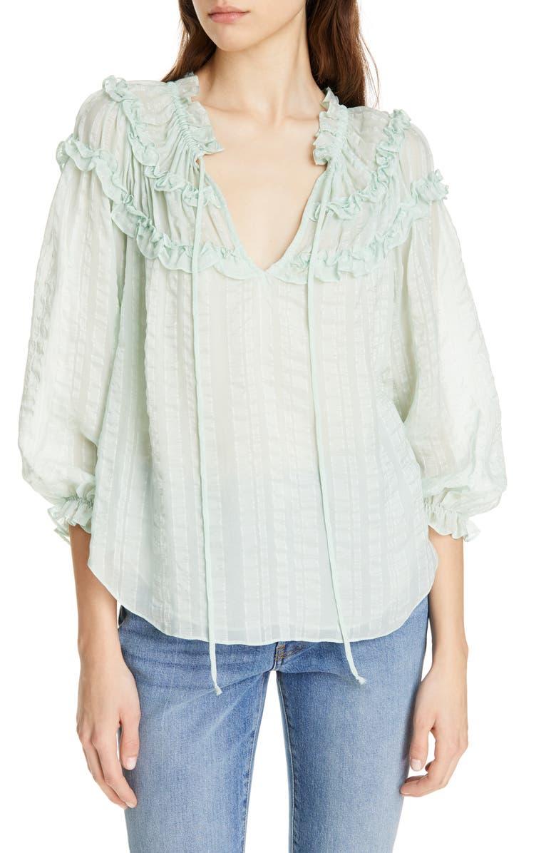 REBECCA TAYLOR Stripe Ruffle Silk Top, Main, color, 334