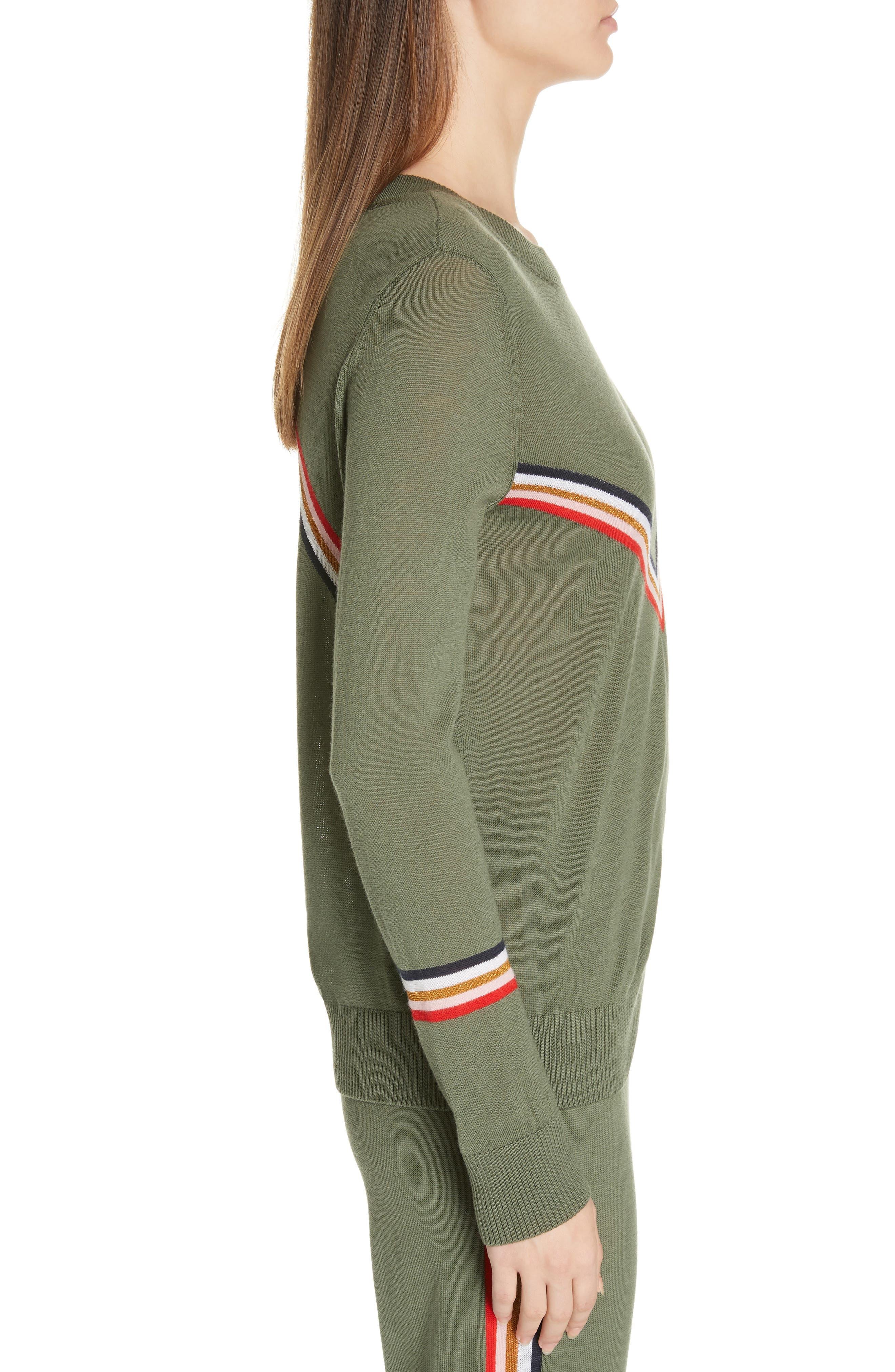 ,                             Chevron Stripe Sweater,                             Alternate thumbnail 3, color,                             KHAKI