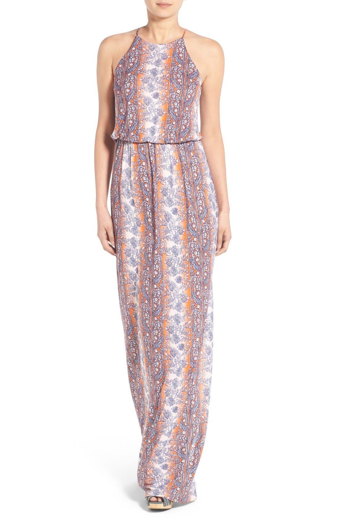 ,                             High Neck Maxi Dress,                             Main thumbnail 120, color,                             601