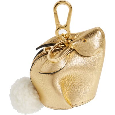 Loewe Bunny Bag Charm With Genuine Shearling - Metallic