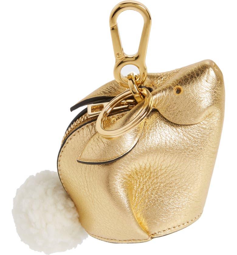 LOEWE Bunny Bag Charm with Genuine Shearling, Main, color, 710