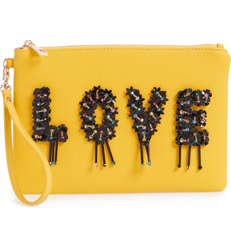 SONDRA ROBERTS Love Embellished Faux Leather Wristlet, Main, color, 700
