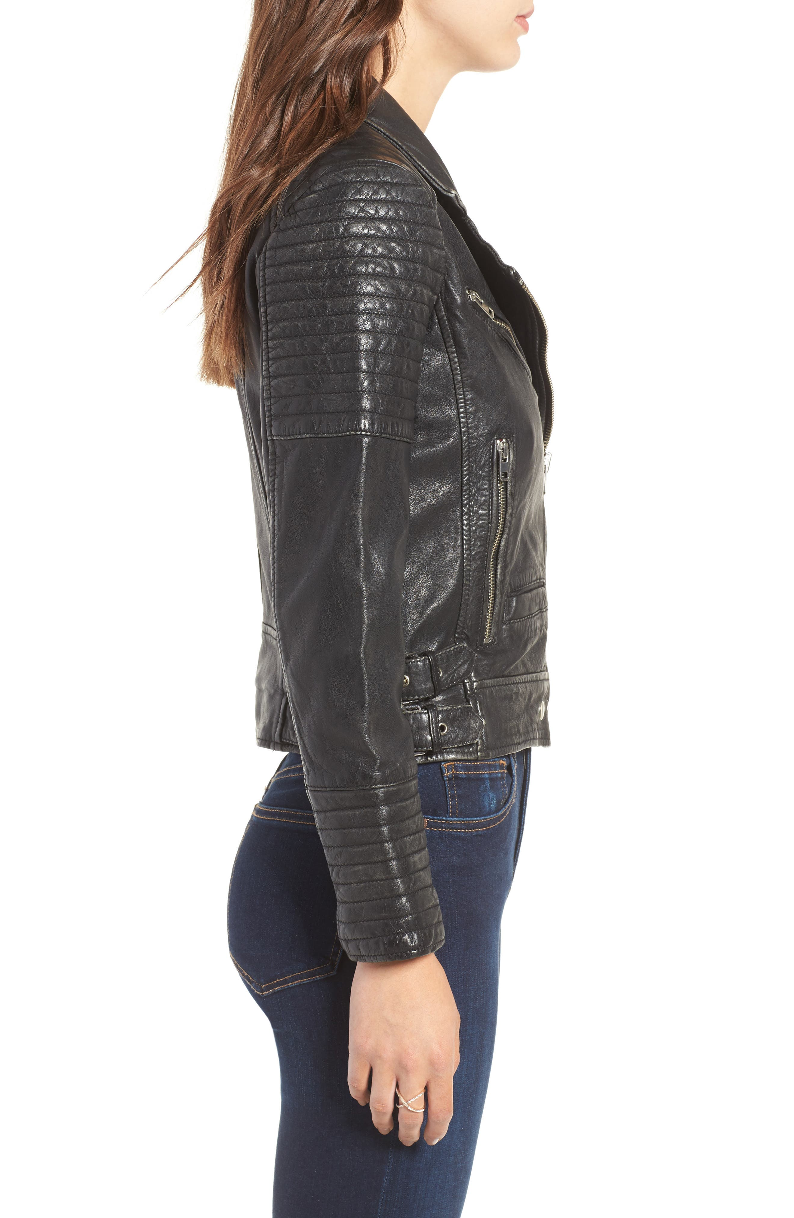 ,                             Elton Quilted Leather Jacket,                             Alternate thumbnail 3, color,                             001