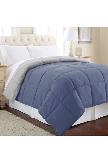 Image of Modern Threads Twin Down Alternative Reversible Comforter - Infinity Blue/Silver