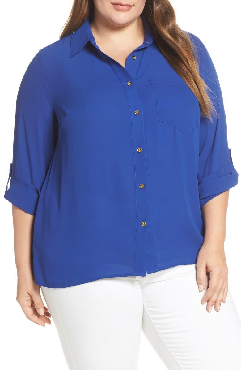 MICHAEL MICHAEL KORS KORS Michael Kors Long Sleeve Crepe Shirt, Main, color, 489