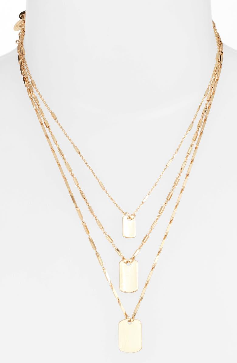 ETTIKA Set of 3 Tag Pendant Necklaces, Main, color, GOLD