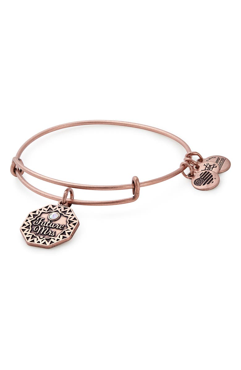 ALEX AND ANI Future Mrs. Expandable Wire Bangle, Main, color, ROSE GOLD