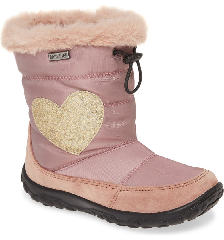 NATURINO Sylva Glitter Heart Faux Fur Trim Waterproof Boot, Main, color, PINK NYLON/ SUEDE