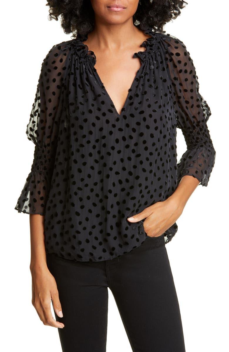 REBECCA TAYLOR Velvet Dot Blouse, Main, color, BLACK