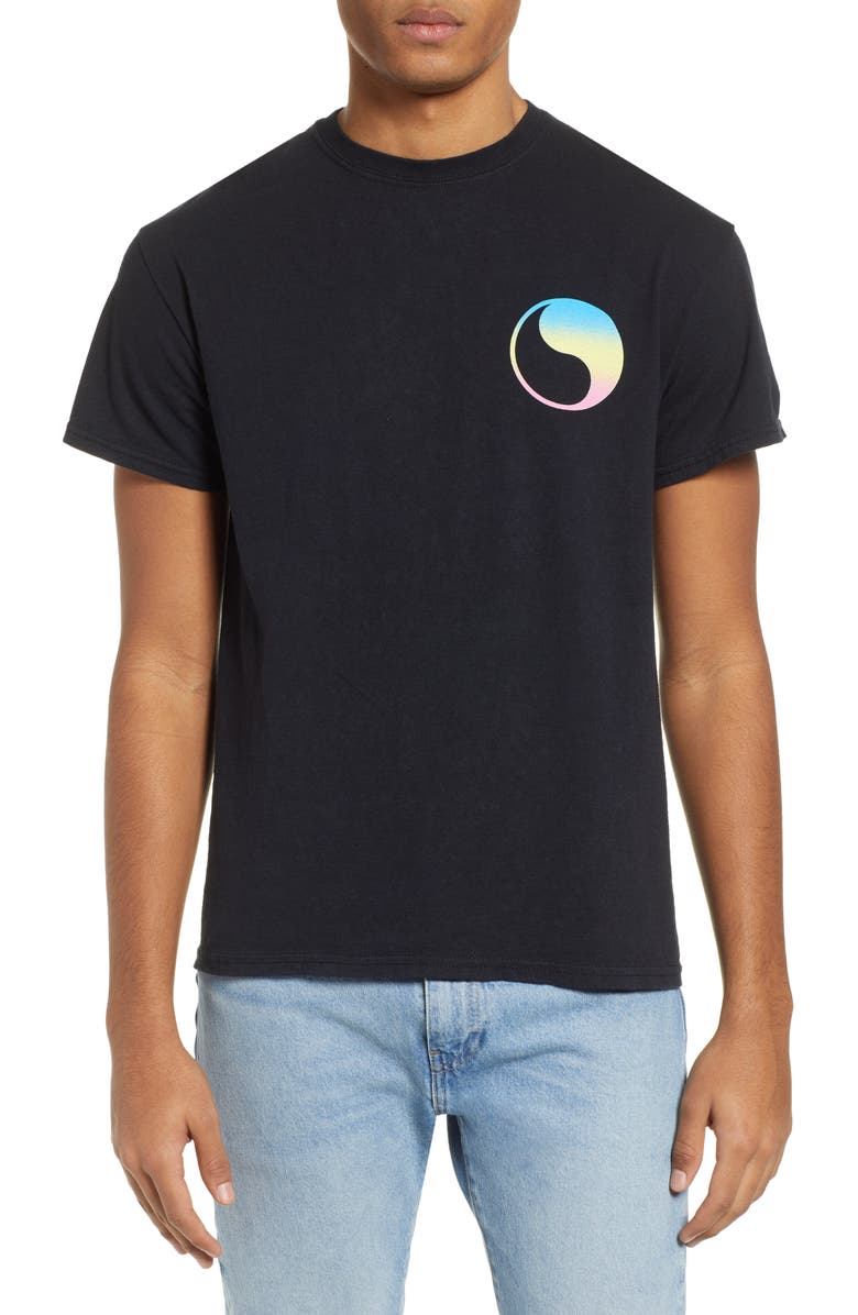 FREE & EASY Prism Yin Yang Logo T-Shirt, Main, color, BLACK