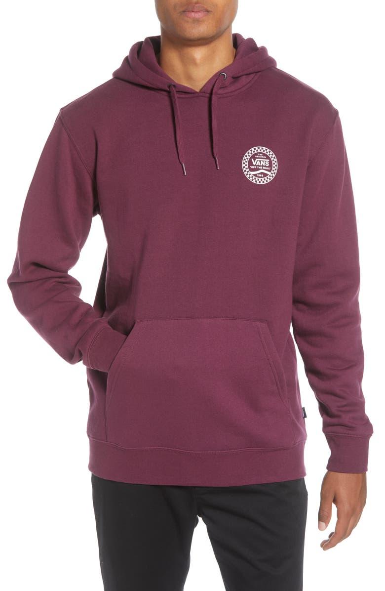 VANS Checkered Logo Medallion Hooded Sweatshirt, Main, color, PRUNE