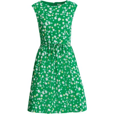 Petite 1901 Floral Sleeveless Cotton Blend Poplin Dress, Green