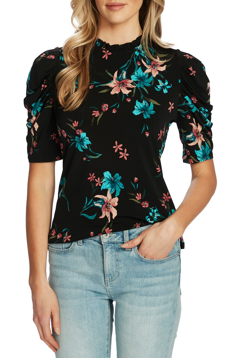 CECE Expressive Lillies Puff Sleeve Top, Main, color, RICH BLACK