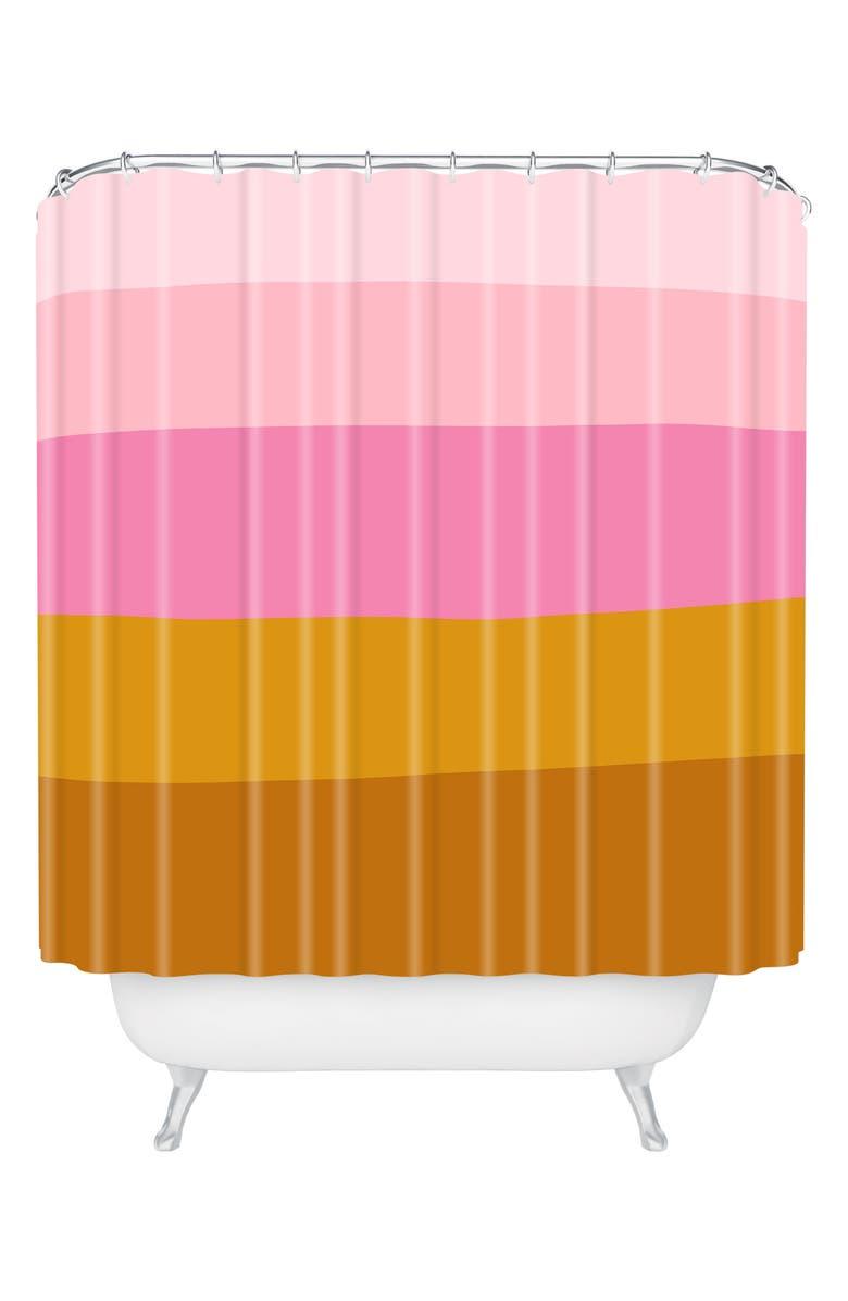 DENY DESIGNS June Journal Retro Shower Curtain, Main, color, PINK/ ORANGE