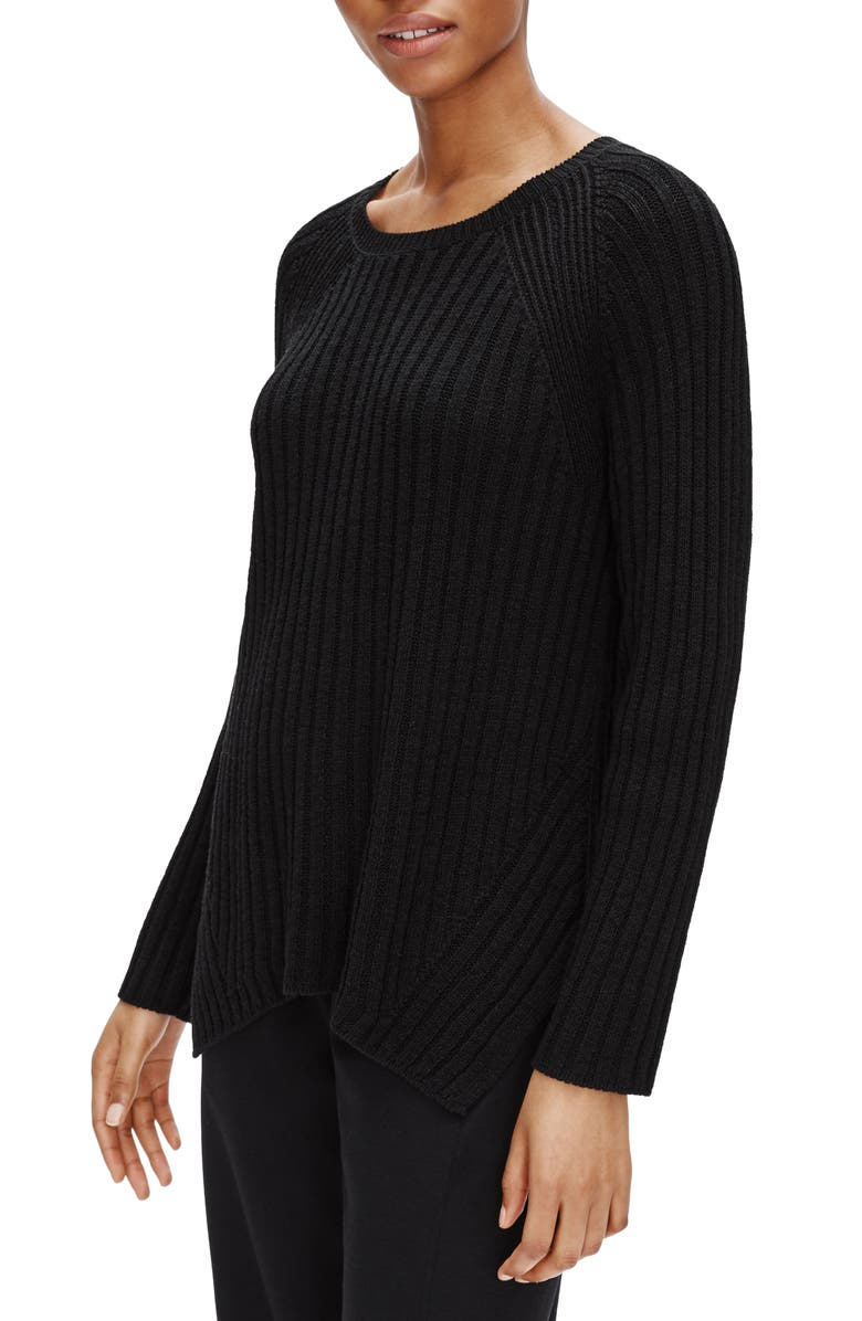 EILEEN FISHER Round Neck Ribbed Pullover, Main, color, 001