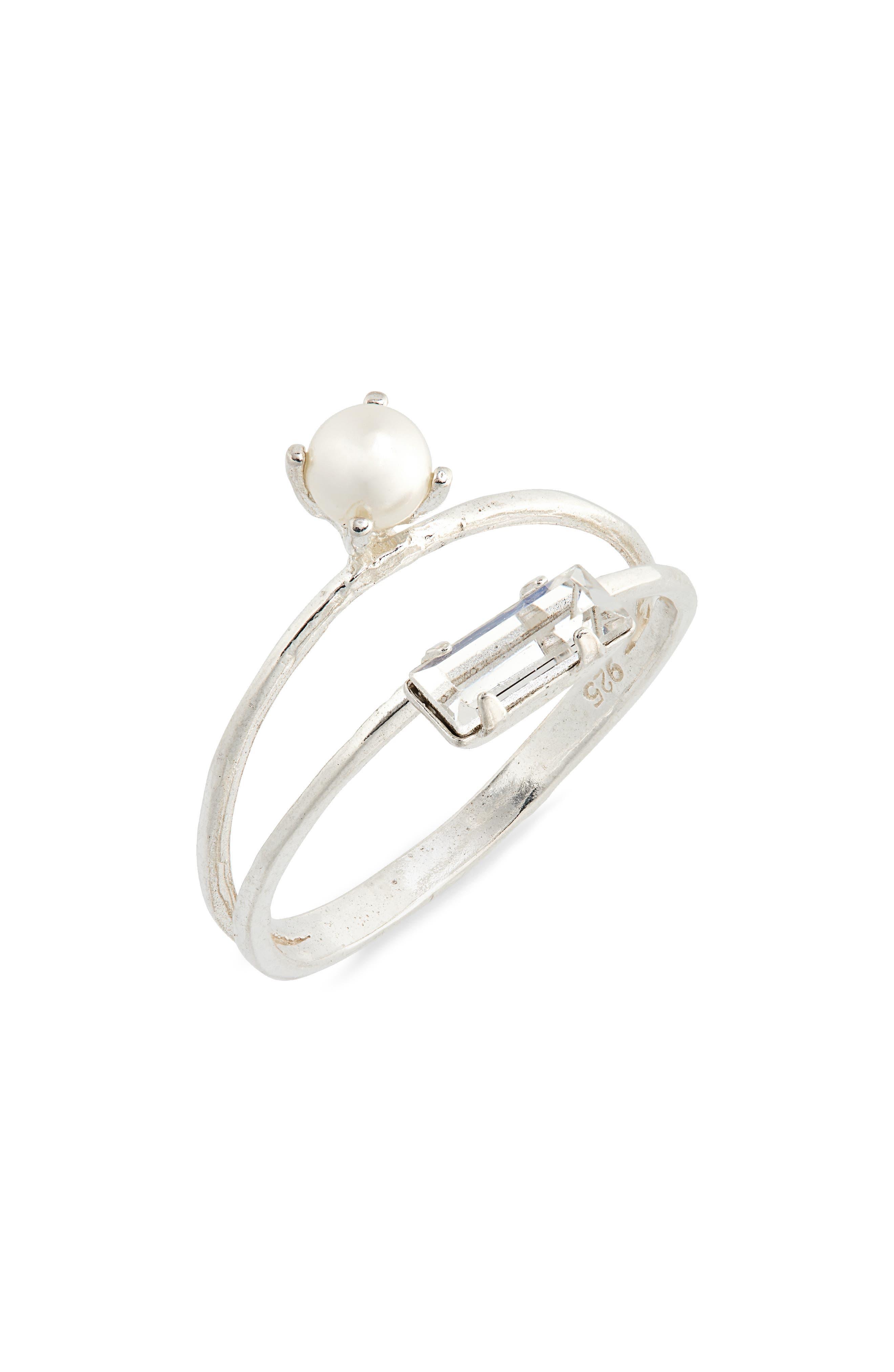 Monroe Duet Imitation Pearl Stack Ring