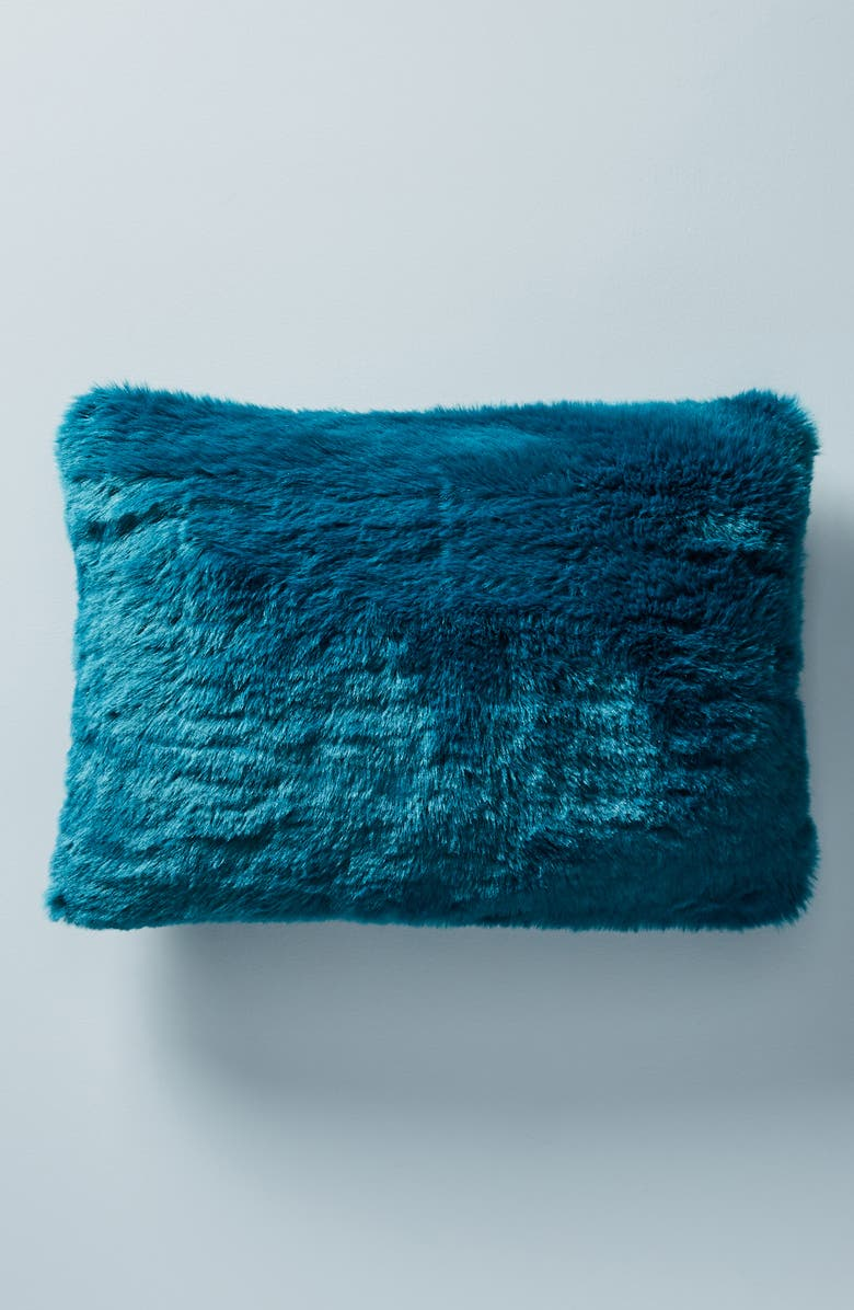 ANTHROPOLOGIE Fireside Faux Fur Accent Pillow, Main, color, PEACOCK BLUE
