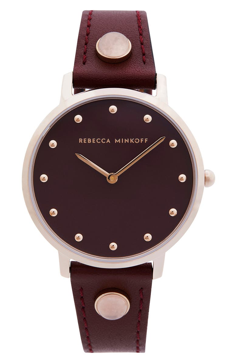 REBECCA MINKOFF Major Leather Strap Watch, 35mm, Main, color, BURGUNDY/ CARNATION GOLD