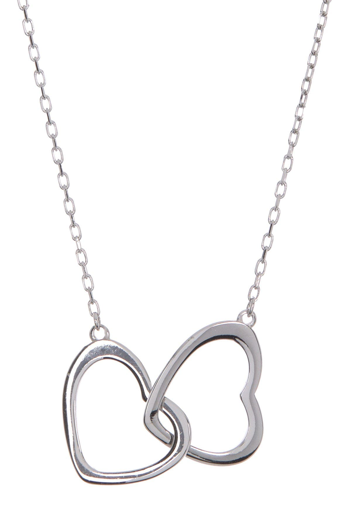 Image of Argento Vivo Sterling Silver Double Open Heart Pendant Necklace
