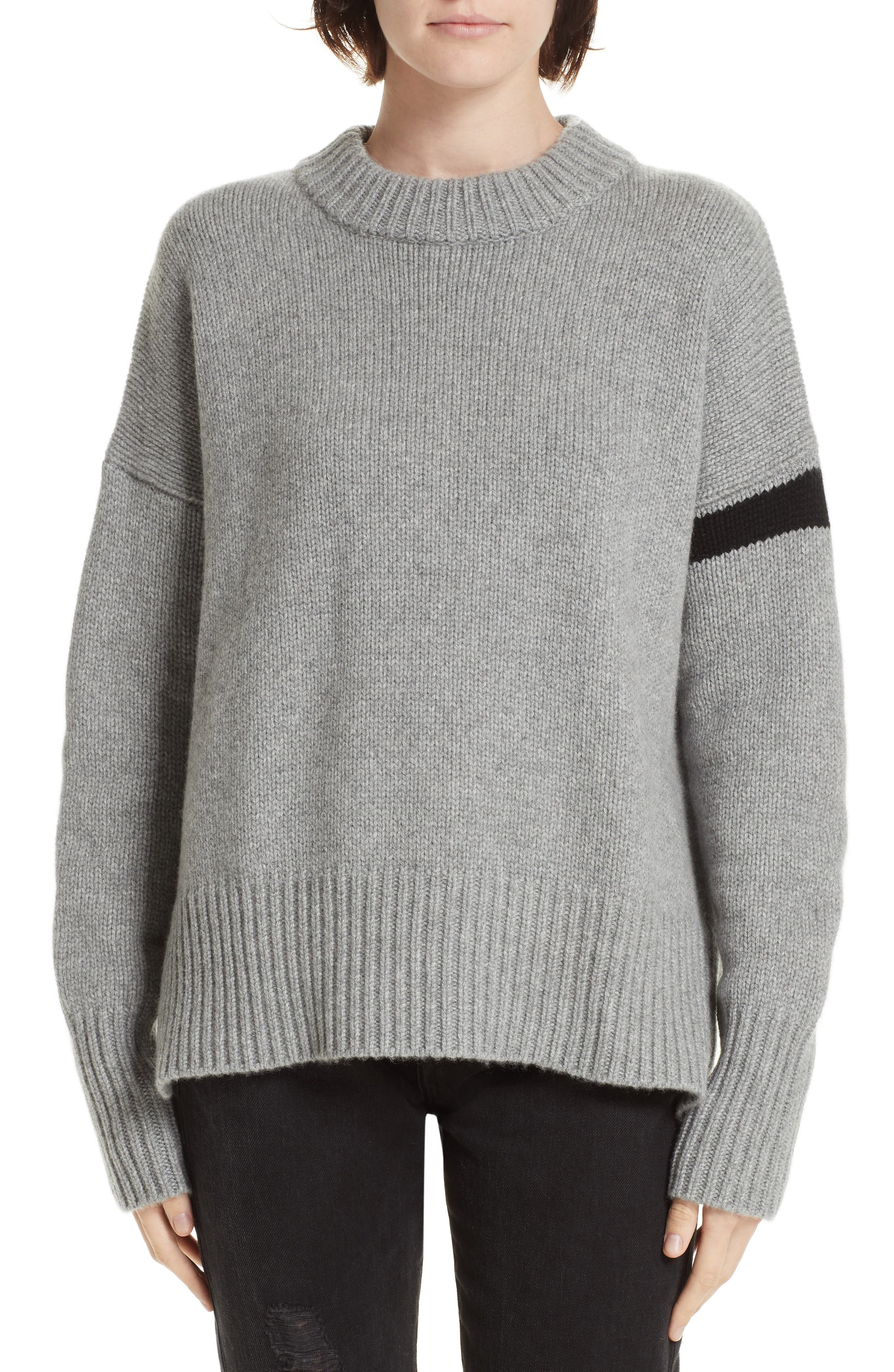 ,                             Varsity Cashmere Sweater,                             Main thumbnail 1, color,                             GREY MARLE/ BLACK