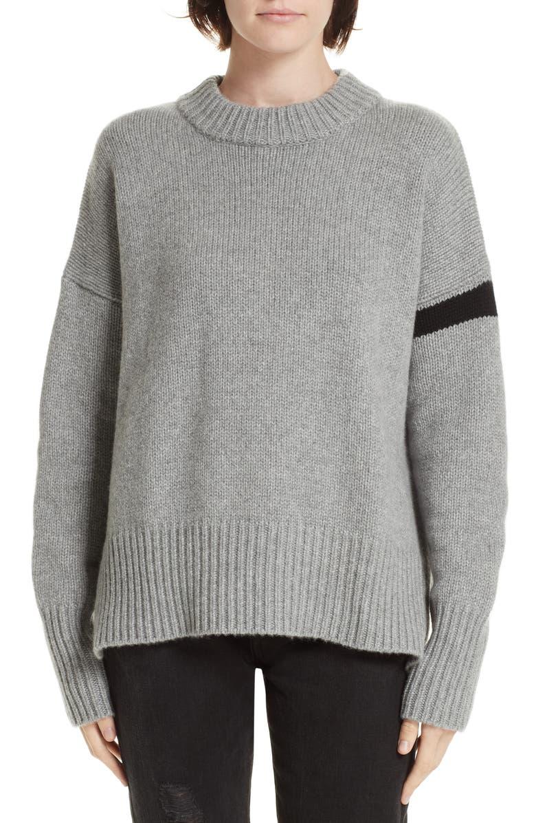 LA LIGNE Varsity Cashmere Sweater, Main, color, 021