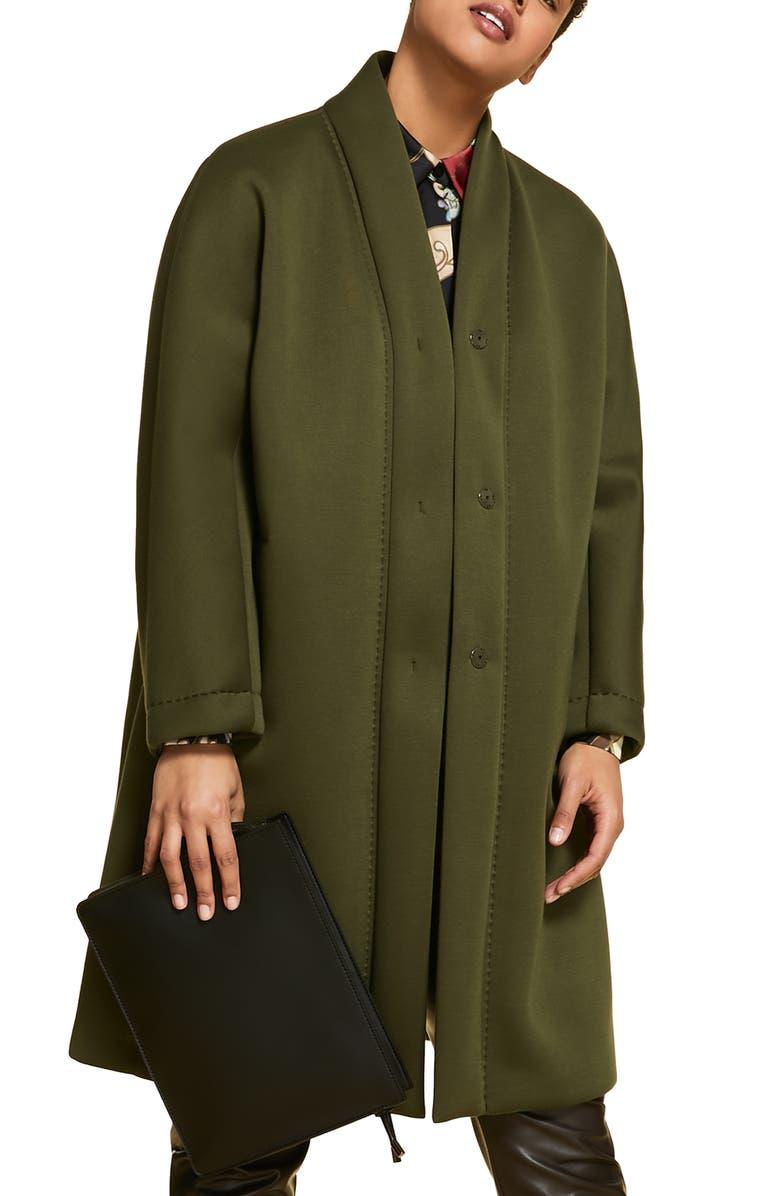 MARINA RINALDI Tropico Neoprene Coat, Main, color, KHAKI