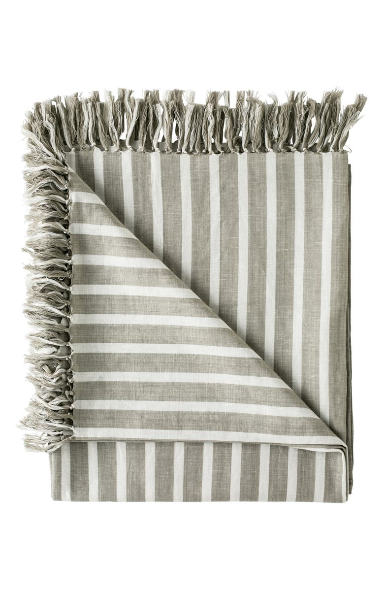EADIE LIFESTYLE Coitier Linen & Cotton Throw Blanket, Main, color, NATURAL/ WHITE
