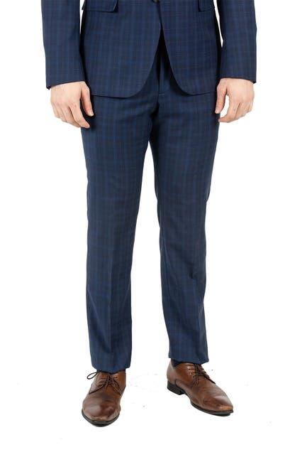 Image of Original Penguin Dark Blue Plaid Slim Fit Wool Blend Suit Separates Trousers