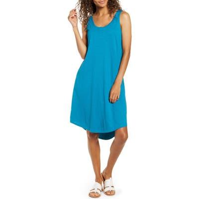 Caslon Shirttail Hem Tank Dress, Blue/green
