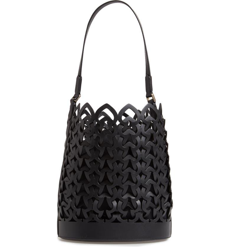 KATE SPADE NEW YORK medium dorie leather bucket bag, Main, color, 001