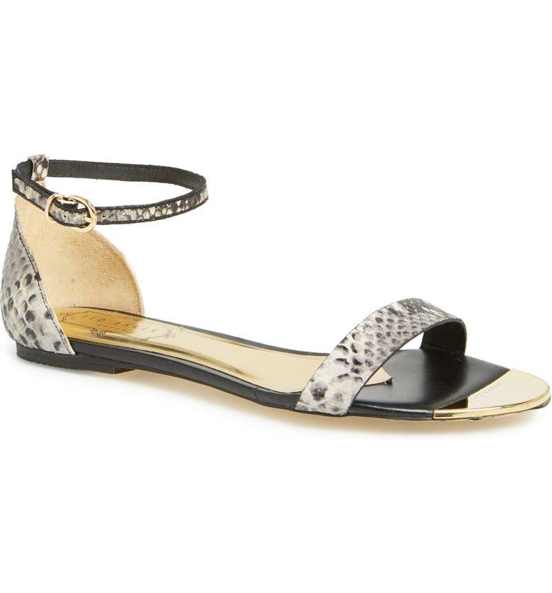 TED BAKER LONDON 'Bellena 3' Leather Ankle Strap Sandal, Main, color, 001