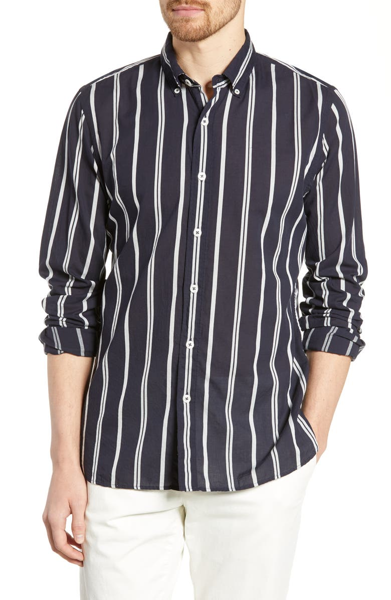 TODD SNYDER White Stripe Cotton Sport Shirt, Main, color, 410
