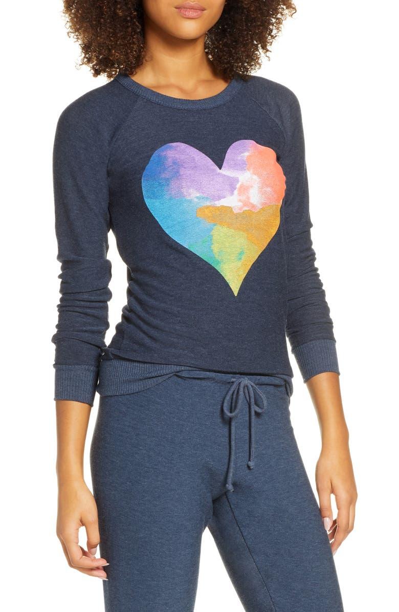 CHASER Rainbow Heart Cozy Pullover, Main, color, AVALON