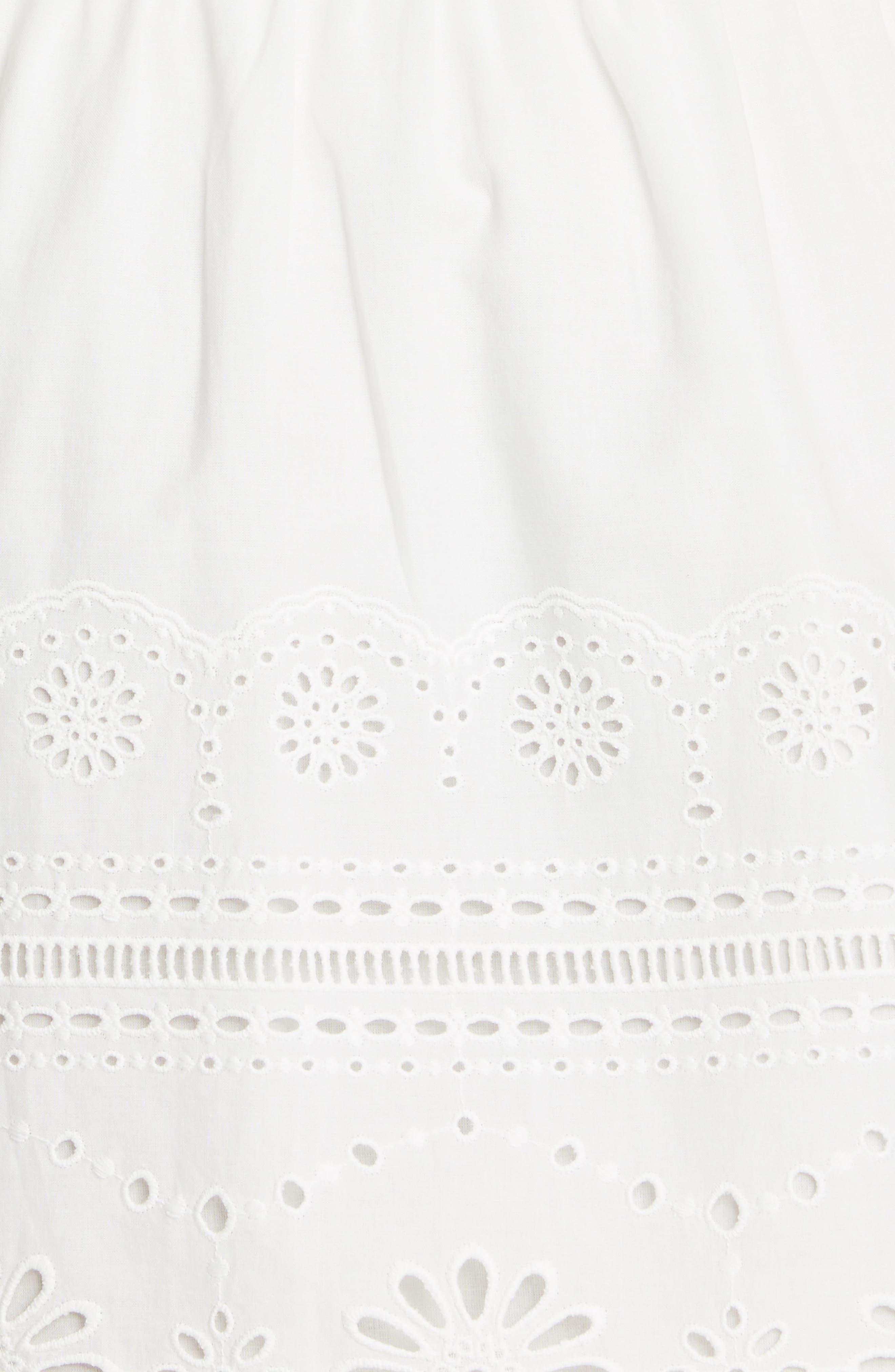 ,                             Bettina Eyelet Minidress,                             Alternate thumbnail 6, color,                             BLACK/ WHITE