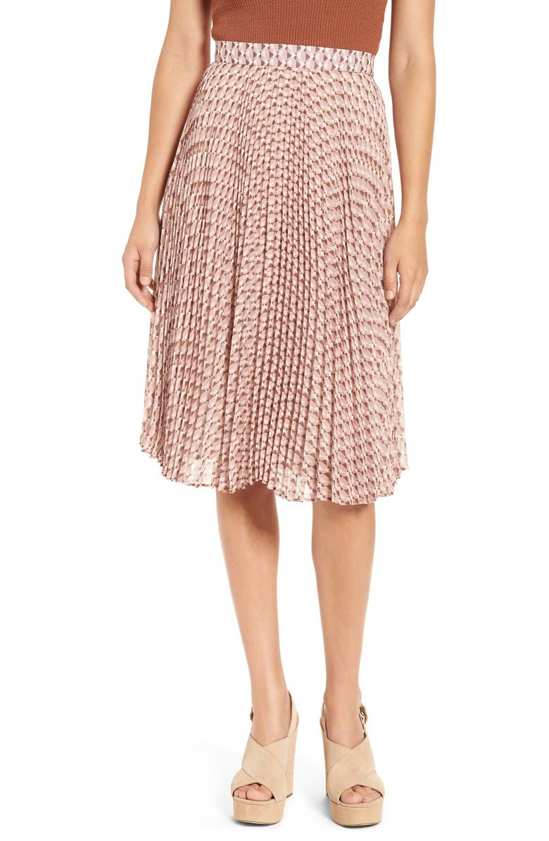 WAYF 'Scout' Mosaic Print Pleated Skirt, Main, color, 650