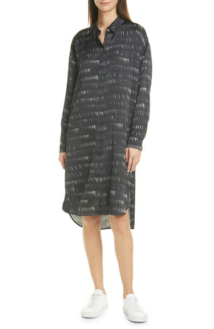 Image of Eileen Fisher Classic Collar Printed Silk Blend Shirt Dress