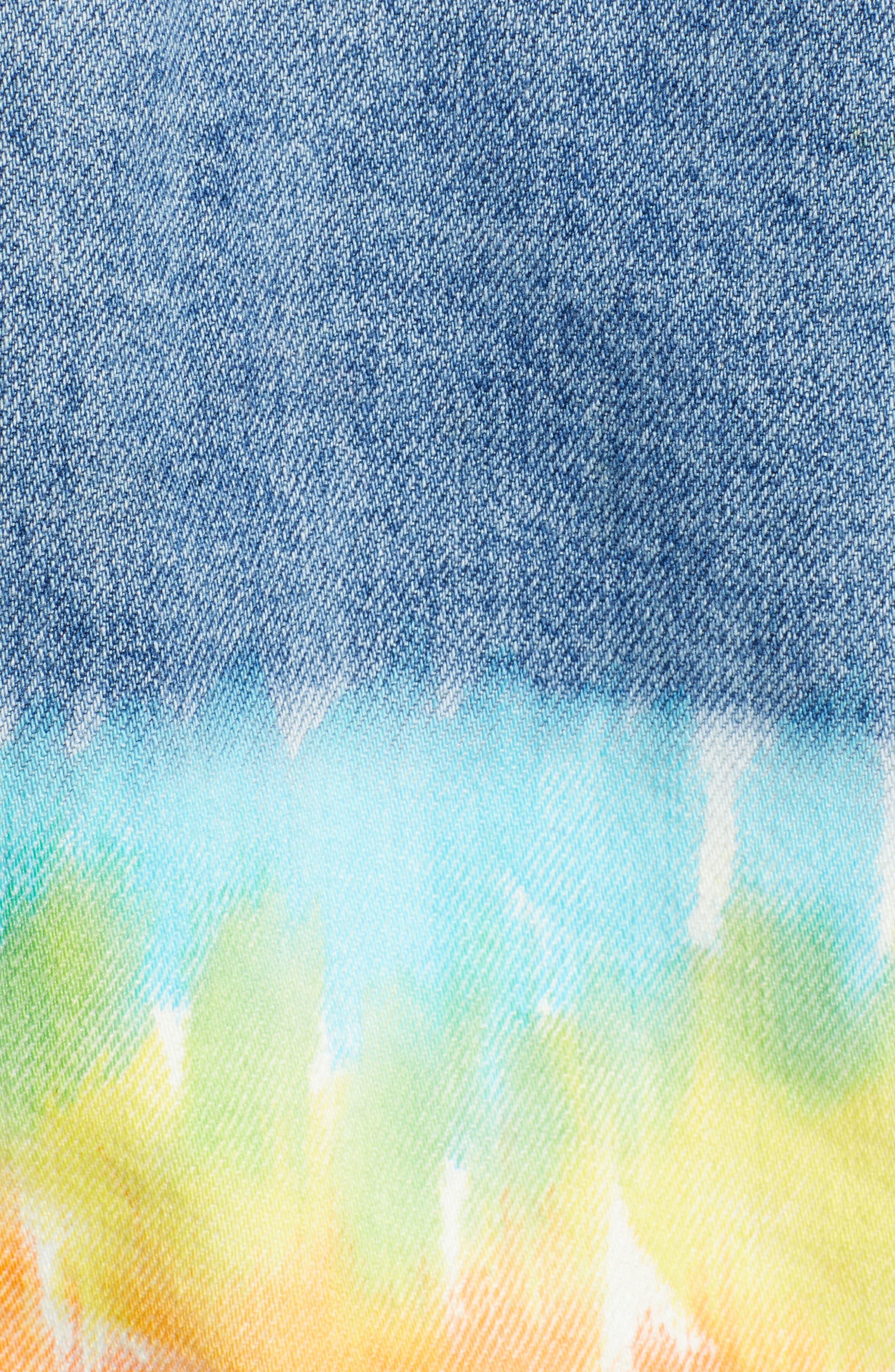 ,                             Tie Dye Hem Crop Denim Jacket,                             Alternate thumbnail 6, color,                             BLOW THE BAG