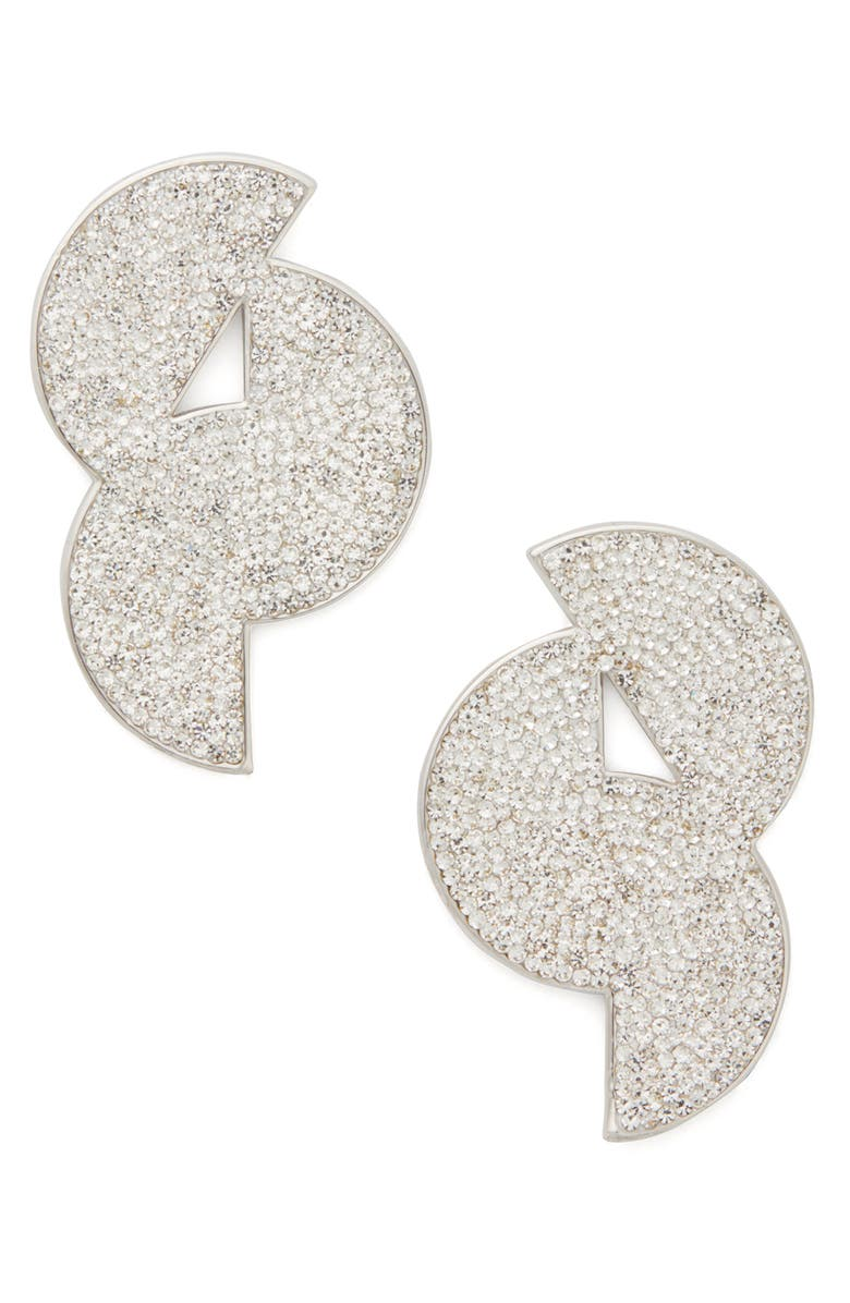 KATE SPADE NEW YORK mod scallop pavé statement stud earrings, Main, color, CLEAR