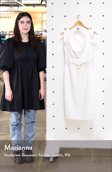'Jackie' Belted Gabardine Sheath Dress, sales video thumbnail