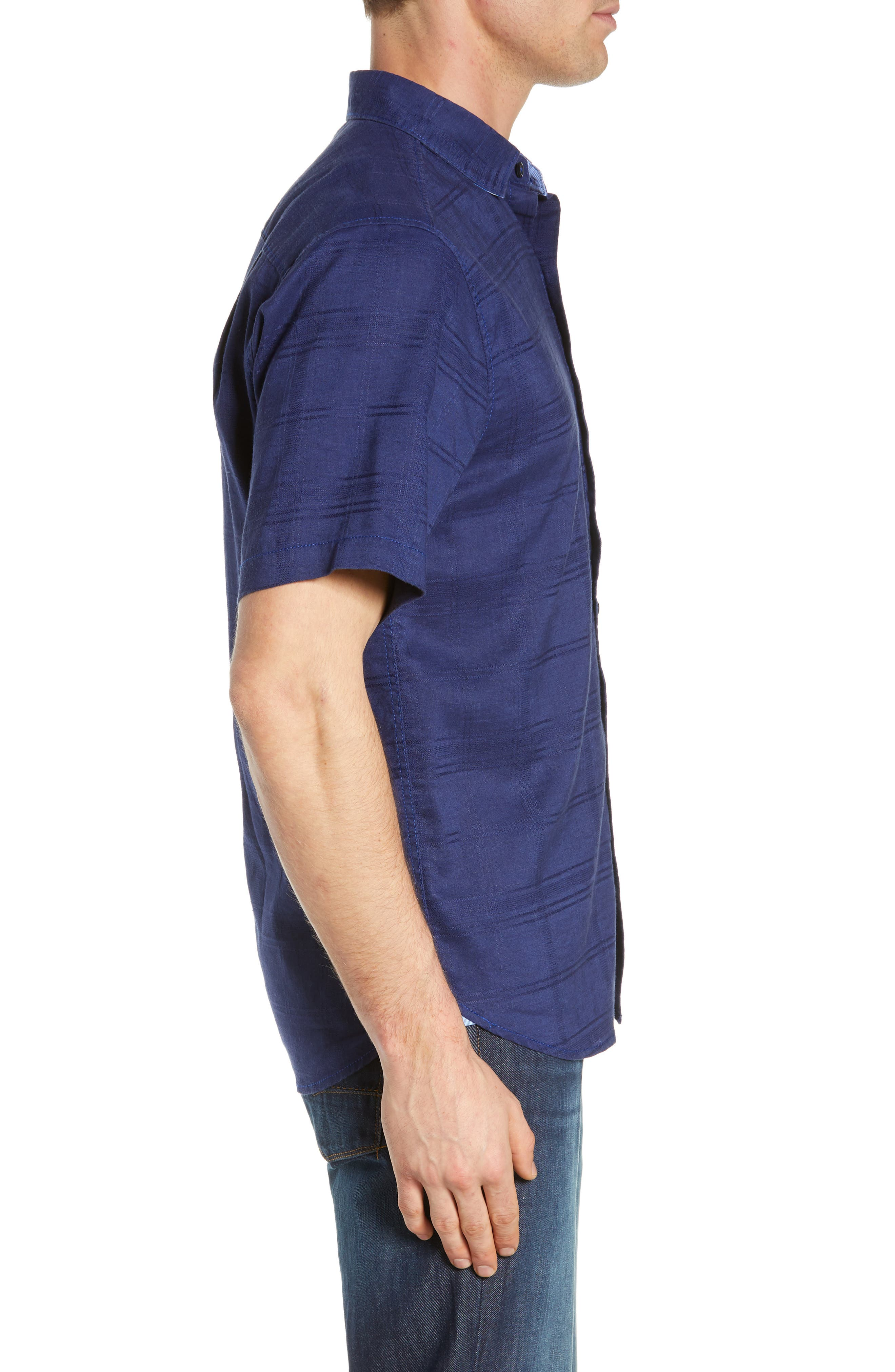 ,                             Costa Tautira Linen Blend Sport Shirt,                             Alternate thumbnail 4, color,                             THRONE BLUE