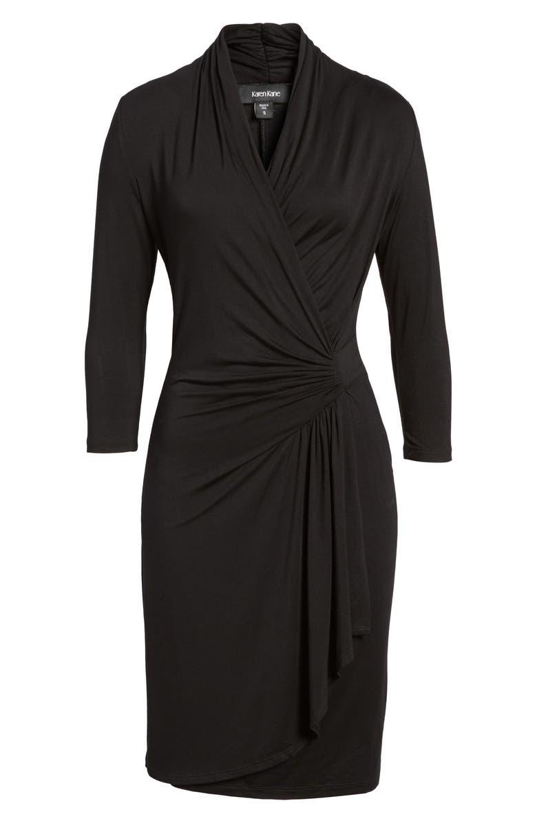 KAREN KANE Cascade Faux Wrap Dress, Alternate, color, BLACK