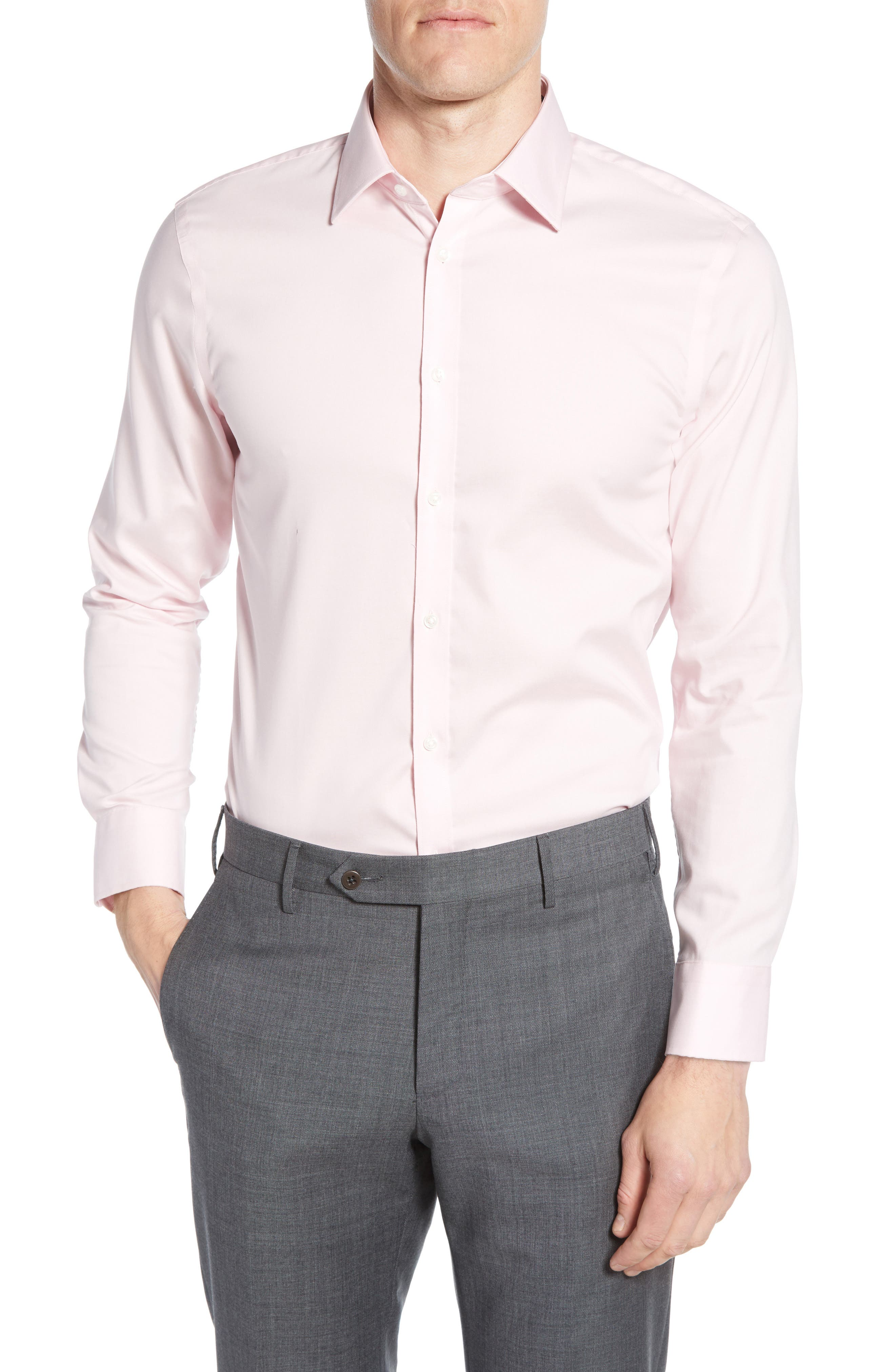 ,                             Extra Trim Fit Non-Iron Solid Dress Shirt,                             Main thumbnail 43, color,                             660